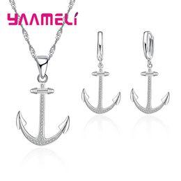 Wholesale anchor jewellery - YAAMELI Retro Style 925 Sterling Silver Anchor Jewelry Sets With CZ Zircon Fashion Bridal Wedding Jewellery Set Women Bijoux