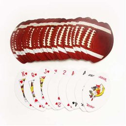 Wholesale playing cards poker size - nonstandard round size football baseball rugby poker set round ovals shape playing card set as collection novelty pokers