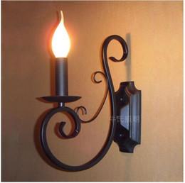 Wholesale 1 entrée lampe de bougie en fer forgé mer méditerranée allée salle à manger chambre à coucher noir bleu métal applique murale Arandela