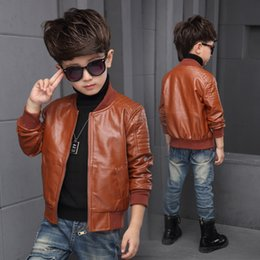 1d357c0d9 1- 8y Hot Autumn winter baby boys Kids Thin section jackets children Solid  Full PU Faux leather Coats Outerwear Clothing children black leather jacket  coat ...