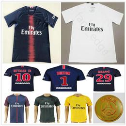 Wholesale soccer jersey customized yellow - 2018 2019 PARIS Soccer Jersey 1 BUFFON 6 VERRATTI 9 CAVANI 10 NEYMAR JR 29 MBAPPE 18 19 Home Blue Customize Football Shirt