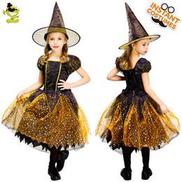 trajes de super-heróis de mulheres adultas Desconto 2018 traje da bruxa da menina crianças eleglant ouro vestido de bruxa com chapéu roupas para trajes do partido de cosplay do dia das bruxas