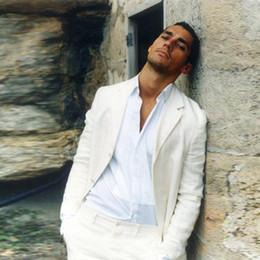 1d5804c453a8 Custom Made Summer Beach Men Suits Beige Linen Slim Fit Casual Wedding Suits  Best Man Groom Prom Tailored Tuxedo 2 Pieces (Jacket+Pants)