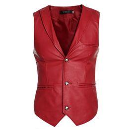 Wholesale Sleeveless Leather Jacket Mens - Mens Vest Sleeveless Casual Jackets Vest Faux Leather Luxury Three Button Waistcoat Coat 0082