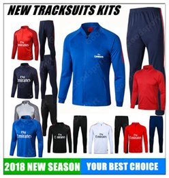 Wholesale Sport Football Kits - 2018 jacket Tracksuits Training KITS Sport Tracksuits Jacket DI MARIA CAVANI VERRATTI LUCAS PASTORE SOCCER FOOTBALL calcio fútbol