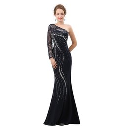 Wholesale Gray Bamboo Flooring - One Shoulder Long Sleeve Mermaid Formal Evening Dresses Beading Sequins Illusion Floor Length Prom Gown Party Dress Custom Made Plus Size