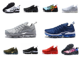Wholesale Male Lace - Vapormax TN Plus Men Basketball Shoes Olive In Metallic White Silver Colorways Shoes Men For Running Male Shoe Pack Triple Black Mens Shoes