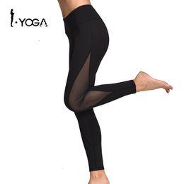 mallas de entrenamiento de malla Rebajas Slim Women Mesh Sport Yoga Leggings Running Gym Sports Medias Sexy Patchwork Pantalones Fitness Workout Pocket Pantalones para mujeres