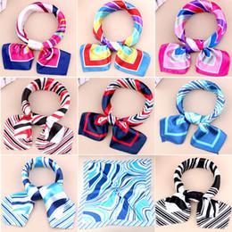Wholesale square satin silk scarves - New Women Girls Korean Style Hotel Waiter Flight Attendants Business Printing Square Imitate Silk Scarf 50x50cm