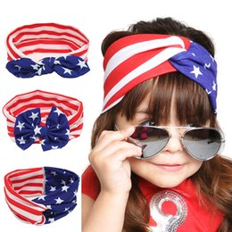 Wholesale American Girl Pins - American National Day Newborn Head Band Baby Girls Elastic Fabric Hair Hoop Flag Pattern Bowknot Hair Pin Hairband Accessories