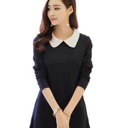 peter pan collar knee length dress Promo Codes - Women's Long Sleeve Dress 2017 Spring Autumn Fitted New Peter Pan Collar Dress A-line dress Cute Knee-length Women Dresses