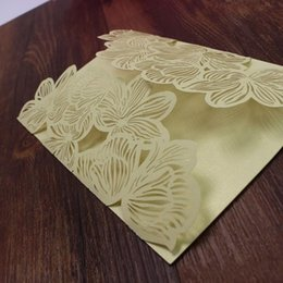 Discount free engagement invitations - Rustic gold party invitation card petal shape laser cutting engagement baby shower wedding invites free ship