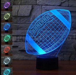 Wholesale change table lamp - Rugby Lamp 3D Lamp 7 Color Changing Touch American football 3D Night Light Lighting Change LED Table Desk Lamp KKA5523