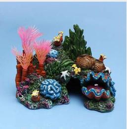 pesce giallo del serbatoio Sconti Ornamento artificiale della decorazione subacquea del carro armato della caverna del pesce della barriera corallina montato acquario
