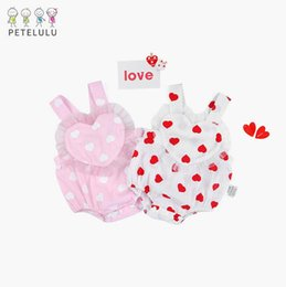 Wholesale Free Baby Slings - 2 color 2018 INS new style baby kids heart printting sling romper high quality cotton kids summer romper free shipping