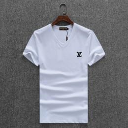 Wholesale men v neck tshirts - New 2018 T-shirt Fashion Badge Men T Shirts For V Neck Cotton Short Sleeve Top Tees High Quality Tshirts Brands