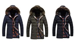 Wholesale Vintage Down Parka - winter jacket Men Solid Long Down cotton Jacket Fashion Wadded Thicken Design warm fur Hooded coat Parkas
