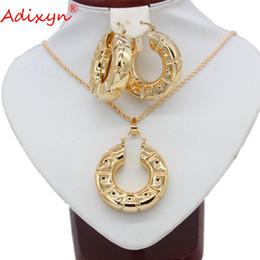 Gold anhänger halskette indien online-Adixyn Plus Große Größe Ohrringe / Anhänger / Halskette Schmuck Sets Für Frauen Rose Gold Farbe Ethiopian / Indien Hochzeit Schmuck N05248