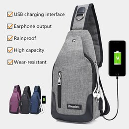 Wholesale Man Satchel Backpack - Men Backpack Multifunctional Sling Chest Bag Crossbody with USB Charge
