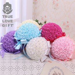 Wholesale Polyester Foams - Simulation Holding Flower With Polyester Ribbon Rhinestone Foam Rose Flowers Eco Friendly Bridal Bouquet High Quality 21jz B