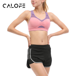Wholesale Tennis Suits Girls - Wholesale- CALOFE Demountable Women Yoga Sets Bra Shorts Fitness Sets Grenadine Gym Sports Running Tennis Girls Leggings Tops Sport Suit