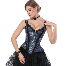 be4db2e8fc Retro Victorian Corset Steampunk Floral Boned Corsets Tops Women Lace Strap  Slimming Bustiers Gothic Lace Up Corselet Goth Costume