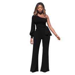 248d95cb92d Elegant Sexy Jumpsuit Overalls For Women One Shoulder Puff Sleeve Romper  Woman Autumn Winter Streetwear Wide Leg Black Jumpsuits