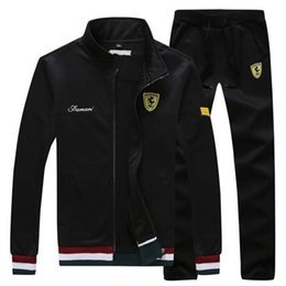 Wholesale Mens Suit Embroidery - 2018 Fashion Stylish Brand Designer Tracksuit Men Luxury Sweat Suits Jogger Suits Jacket + Pants Brand Mens Tracksuits Mens Outercoat M-4XL