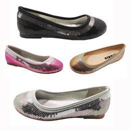 Wholesale childrens shoes for girls - Sequines Ballerina Dress Shoes for Girls Toddler Childrens' Silver Pink Gold Black Satin Textile Wedding Party Zapatos