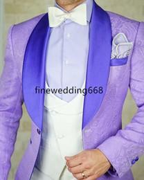 boutons de marié argent Promotion 2018 Personnaliser Classique Châle Revers Un Bouton Mariée Mariage Tuxedos Hommes Costumes Mariage / Bal / Dîner Meilleur Blazer Homme (Veste + Cravate + Gilet + Pantalon) 21