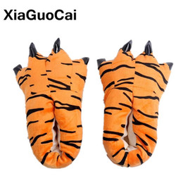 Wholesale Christmas Novelty Fabric - XiaGuoCai Funny Animal Unisex Paw Slippers Winter Warm Christmas Monster Dinosaur Plush Home Slippers Indoor Soft Claw Slippers