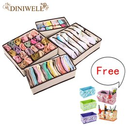 Wholesale Bra Storage Boxes - DINIWELL 4PCS Storage Boxes For Ties Socks Shorts Bra Underwear Divider Drawer +1PCS Desktop cosmetics Zakka Makeup UP Organizer