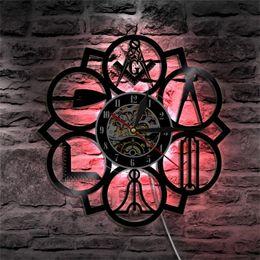 новые светодиодные настенные часы Скидка Новый творческий черная резинка запись виниловые настенные часы группа Управления современные настенные часы светодиодные семь цвет лампы высокого качества 72wj aa