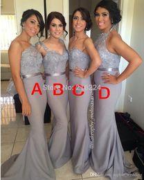 Argentina 2018 por encargo elegante sirena vestidos de dama de honor de plata gris gasa encaje rebordear dama de honor vestido formal largo vestidos de fiesta Vestidos Suministro