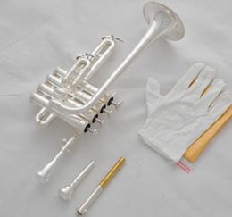 Wholesale New Trumpet Mouthpiece - Professional New Silver Piccolo Trumpet 4 Piston Horn Bb A 2 Leadpipe Mouthpiece