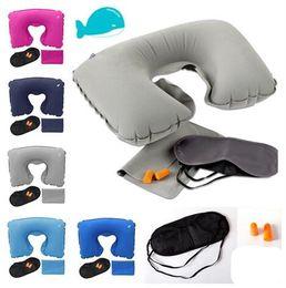 Wholesale Rest Pillows - Travel Set 3PCS U-Shaped Inflatable Travel Pillow Eye Cover Earplugs Neck Rest U Shaped Neck Pillow Air Cushion KKA1781
