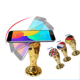 Wholesale Cell Phone Items - World Cup Football Car Holder Magnet Magnetic Cell Phone Holder Universal For iPhone 6 6s 7 GPS Bracket Stand Novelty Items OOA4971