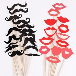 Wholesale Christmas Stick Photo Props - Wholesale- Boutique 50 Pcs Colorful Props On A Stick Mustache Photo Booth Fun Party Wedding Christmas Birthday