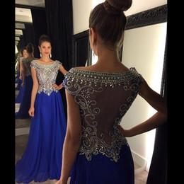rhinestone evening gown cap sleeves Promo Codes - Royal Blue Women Formal Evening Dresses Rhinestone Beaded Neck Cap Sleeves Chiffon Sheer Back 2019 Sexy Pageant Party Gowns Long Prom Dress