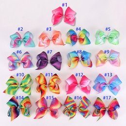 Wholesale black bow hair clip - JOJO SIWA Style 12cm 5inch Rainbow Signature hair bow hairclip baby girl Children Hair Accessories fashion hair clip 17 colors available