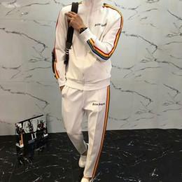 Beige hose für frauen online-Palm Angels 18SS Regenbogen Sport Set Luxus Reißverschluss Jacke Hosen Männer Frauen Sweatshirt Mantel Lässig Tops Hosen Fitness Trainingsanzug HFYMTZ011