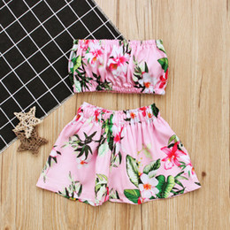 Wholesale Girls Boob Tube - New Girls floral swimwear 2pc sets boob tube top+flower skirt 1-3T baby toddlers cute beach swimming suit free shipping