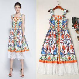 Estilo de Sicilia 2018 mujeres de la moda de una sola pieza vestido de diseñador de marca sexy vestidos de la pista sin mangas vestido 84792 desde fabricantes