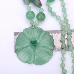 Wholesale carved jade charms - Yumten Women's Pendant Necklace Charm Aventurine Jade Handmade Carved Jewelry Fashion Crystal Beads Chain Gifts Collane Donna