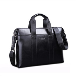 Wholesale mens black briefcase - 2018 Famous Brand Designer Briefcase Simple Mens Leather Briefcase Solid Large Business Man Bag Laptop Bag Messenger Bag for Men