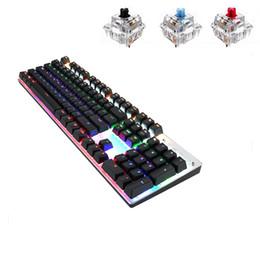 russische englische tastatur schwarz Rabatt Mechanische Gaming Tastatur 104 Tasten Anti-Ghosting Tastatur LED Hintergrundbeleuchtung für PC Gamer Blau / Schwarz / Rot Schalter Englisch Russisch Layout