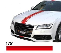 "Wholesale racing sticker vinyl - (450*15cm Roll) 175"" Car Styling Hood Roof Tail Decal Car vinyl Decals Stickers Racing Stripes Stickers For All Cars"
