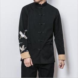 Argentina Cuello traje tang con elementos de bordado chino la gruesa blanca diseño de botón chaqueta retro de gran tamaño ropa de hombre Suministro