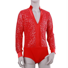 Wholesale purple belly dance top - Wholesale-Latin Dance Dress Deep V-Neck Collar Ballroom Dance Tops Red Black White Purple Men Shirt Clothing For Latin DQ5011
