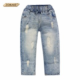 c5717cabc1f JOMAKE 2018 New Girls Jeans Kids Clothes Children Clothing Boys Jeans  Casual Elastic Waist Fashion Ripped Denim Pants Trousers